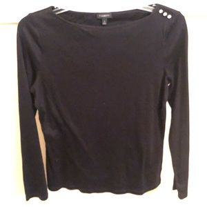 Talbots black long sleeve shirt with 3 buttons